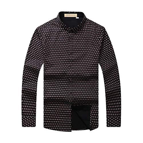 ZJEXJJ Langärmliges T-Shirt für Herren Loses, großformatiges Print-Top Business Workwear Langarm-Poloshirt aus Baumwolle (Farbe : Braun, größe : XL) -