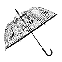 LUCHA Clear Auto Transparent Stick Dome Umbrella Auto Open for Women Girls