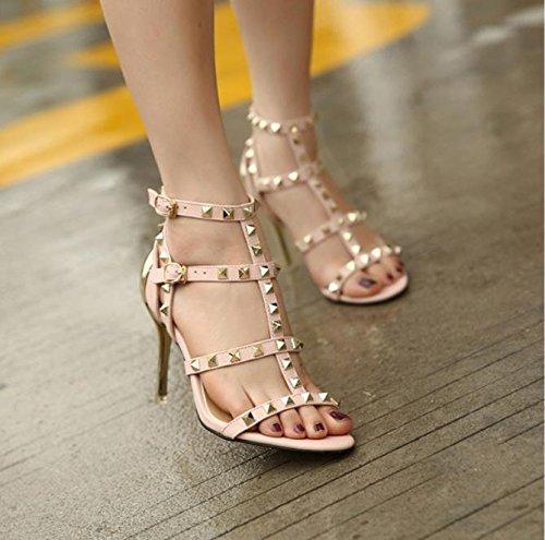 GS~LY Frauen bildenden mit hohlen Metall Nieten Sandalen Pumps meters white