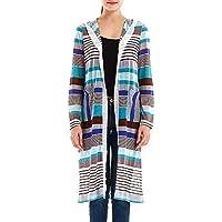TWBB Damen Mantel,Winter Streifen Print Trenchcoat Mit Kapuze Sweatshirt Strickjacke Outwear