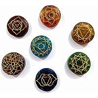 Preisvergleich für Healing Crystals India 7 Steine Chakra Orgone Disc Set 25 mm 7-teilig + eBook über Crystal Healing by Master Abhishek...