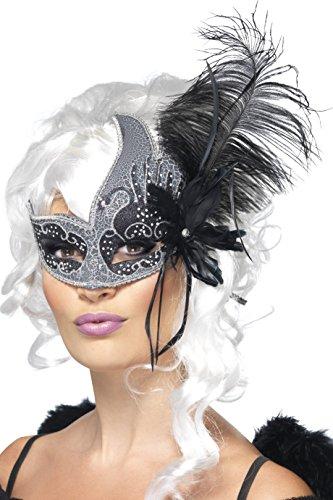 Smiffys, Damen Augenmaske mit Feder, One Size, Schwarz und Silber, 27856 (Ideen Für Einen Dark Angel Kostüm)
