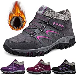 Zapatillas de Deporte Mujer gracosy Zapatos de Senderismo Algodón de Invierno Pieles Exterior Botas de Nieve Zapatos Antideslizantes Transpirables Gran Tamaño