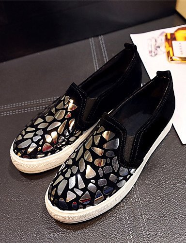 ZQ gyht Scarpe Donna - Mocassini - Tempo libero / Formale / Casual - Plateau / Creepers - Plateau - Finta pelle - Nero / Bianco / Dorato , golden-us11 / eu43 / uk9 / cn44 , golden-us11 / eu43 / uk9 /  golden-us8.5 / eu39 / uk6.5 / cn40