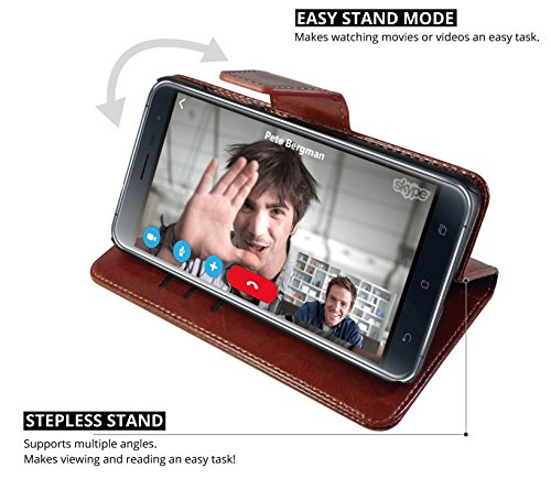 Classic Business Style Asus Zenfone 3 ZE520KL Flip Case (Walnut Brown)