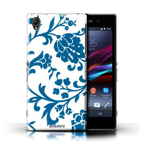 Kobalt® Imprimé Etui / Coque pour Sony Xperia Z1 / Fleurs Bleue conception / Série Motif floral Fleurs Bleue
