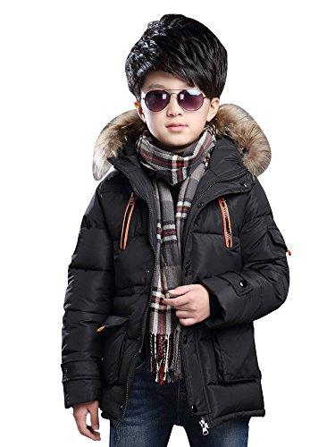 Kapuzen-wintermantel (Jungen Winter Mantel Winterjacke Wattejacke Süß Warm Kapuze Outwear Schick Parka Schwarz Größe 150 - 59