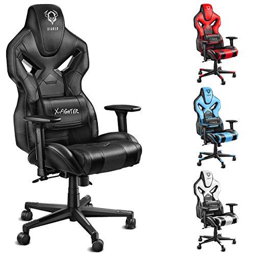 Leder Computer Schreibtisch Stuhl (Diablo X-Fighter Gaming Stuhl Bürostuhl, verstellbare Armlehnen 4D, Air Mesh, regulierbare Lendenwirbelstütze, Wippfunktion, Kunstlederbezug, Farbwahl (schwarz-schwarz))