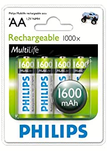 Philips R6B4A160 Batterie rechargeable 1600mAh AA 4 pièces