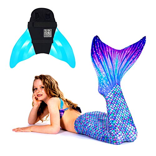 SUN TAILS Premium Meerjungfrauen Flossen Set zum Schwimmen Kostüm Aurora Borealis Monoflosse Keiki Kinder Nunui Erwachsene M türkis