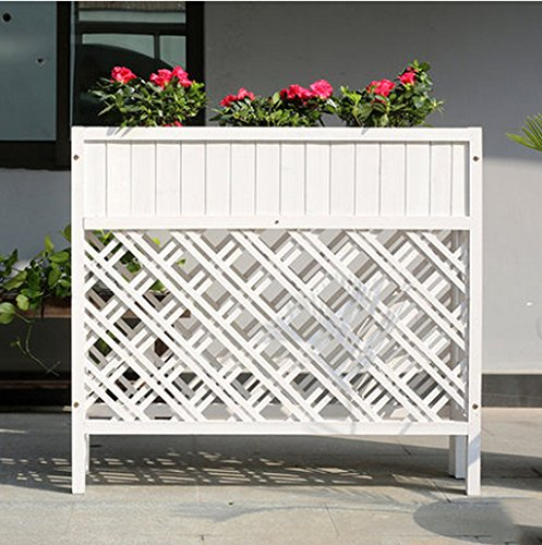 JAZS® Boîtes à fleurs en plein air Anti-corrosion en bois massif Flower Rack Planters Grille Partition L'hôtel est grande clôture clôture Fleur pot cadre protection de l'environnement raffinée ( taille : L )
