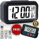 SuperKart™ Smart Digital LCD Alarm Clock | Free Mini Desk/Table Clock | Automatic Sensor, Large Back-Light Display, Date & Temperature for Bedroom, Students, Kids, Heavy Sleepers, Office & Home