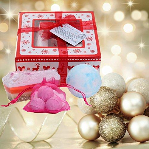 Hecho a mano bathbomb Pamper cesta caja de regalo con cinta de Navidad etiqueta y rojo–Belleza bakery- feliz Navidad regalo para ella