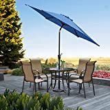 Grand Patio Gartenschirm mit Dreh-Kipp-Mechanismus Kurbelschirm Sonnenschutz UV-Schutz Sonnenschirm Ø 270CM, Rund, Blau