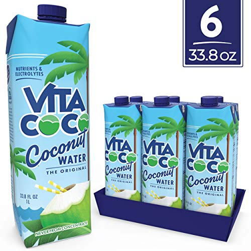 Vita Coco Coconut Water, Pure - Naturally Hydrating Electrolyte Drink - Smart Alternative to Coffee, Soft Drinks and Sports Drinks - Gluten Free - 1L (Pack of 6)