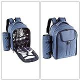 Blauer Picknickrucksack mit Camping-Geschirr und Besteck