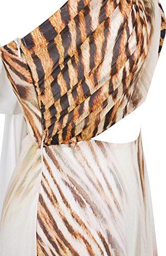 Angel-fashions Damen Bateau Chiffon Ruschen besetzt Durchbohrt Leopard Paillette Langes Kleid Weib