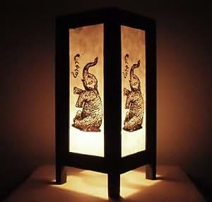 Rare Asie thaï Lampe de Tables Bouddha Style Chevet Bébé éléphant Par Thaïlande