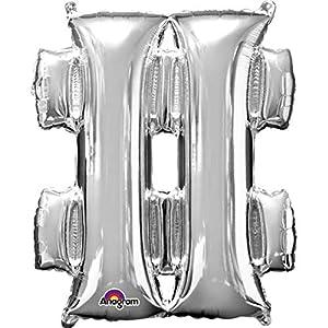 amscan 3306601 - Globo de Papel de Aluminio Plateado con Forma de #, 40,64 cm