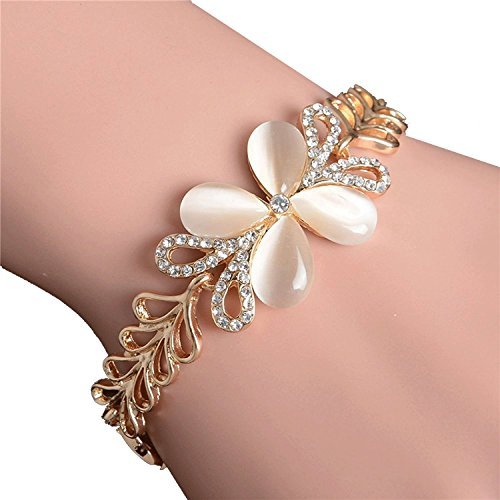 Shining Diva Fashion 18k Gold Plated Crystal Charm Bracelet for Girls and Women