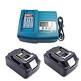 AA+ Makita Chargeur de rechange avec 2 x 18 V 4.0 Ah Batterie Pour Makita perceuse visseuse sans fil 18 V DDF459RMJ ddf459rf4j DDF459Z dhp482z ddf484z dhr165rtj hp457dwe ddf483z ddf456ryj ddf480rtj (Batterie bl1840)