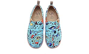 UIN Damen Fishes Funny Canvas Walking Schuhe Weiß