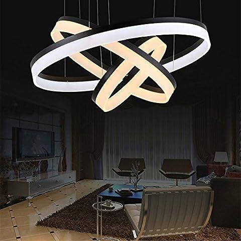 FengChandelier-Bague en jauge en acrylique Led Chandelier pour salon / Restaurant / Hôtel Créatif Éclairage à forme ronde, blanc à un tour 60cm