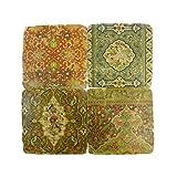 Set of 4Vintage Floral Keramik Untersetzer mit Unterseite aus Kork 10cm x 10cm x 1cm