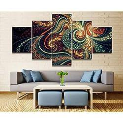 FimGGe5 Panel Abstracto Fractal Lienzo Impreso Pintura para la Sala de Arte de la Pared Home HD Decoración Imagen Obras de Arte Cartel-Grande con Marco