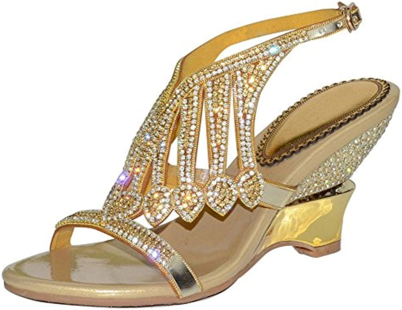 GAIHU Women Diamante evening evening bride black wedding party prom 30540  die collet heel sandals of the black gold B07D5RR1WN Parent 063990d ... 0851c4b11031