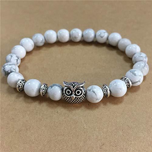 Qiuday Eule Stretch-Armband - Dankeschön-Lehrer Mentor Trainer Ratgeber Geschenk Set - für Ihre Frau von Eltern von Jungen oder Mädchen - Weiß Grau Blau- Neu