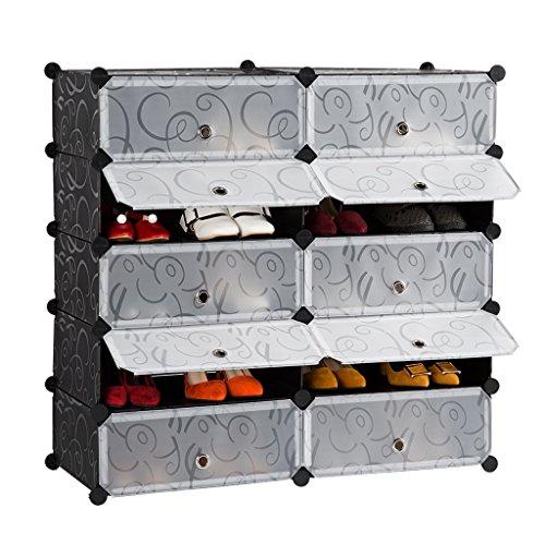 Langria 5 paio scarpiera armadio guardaroba scapiera a cubo scaffale mobiletto modulare modello riccio in bianco e nero