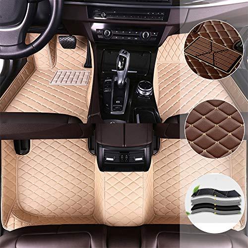 Auto-FußmattenFür V olkswagen Multivan 7seat 16-18 2 Row Seats Has Aisle rutschfesteAbnutzungBodenmatten VolldeckungwasserdichteLederAutoteppicheAntiRutschfürLinkslenker Beige