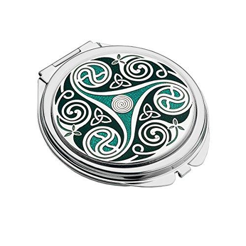 Schatten Bogen (Handgemachte keltische Triskele Doppel Schatten grün Taschenspiegel)