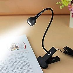 Absales USB Flexible Reading LED Light Clip-on Beside Bed Table Desk Lamp (White Light Black)