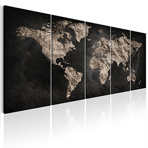 decomonkey Bilder Weltkarte 225x90 cm 5 Teilig Leinwandbilder Bild auf Leinwand Vlies Wandbild Kunstdruck Wanddeko Wand Wohnzimmer Wanddekoration Deko Welt Karte Kontinente Landkarte (Landkarte Welt Auf Leinwand)