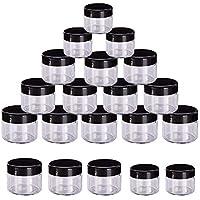 KINDPMA 20PCS Contenedor de Cosméticos de Muestra Botes de Plastico Pequeños Transparente con Tapa Tarro de Viaje Adecuado para Cremas y Cremas Ojos Joyas Lápiz Labial DIY Negro