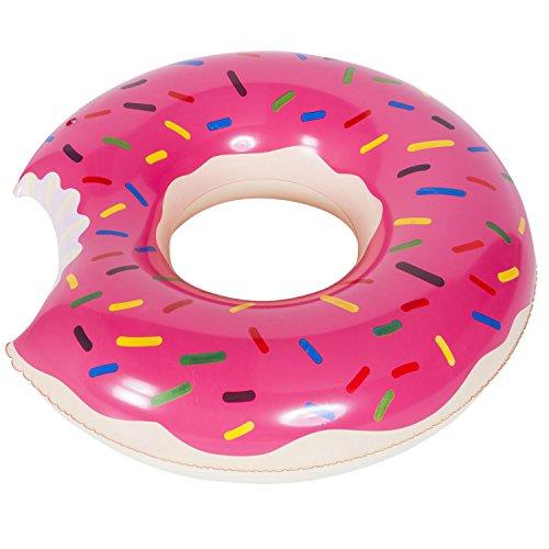 Goods & Gadgets Aufblasbarer Donut Schwimmreifen 120cm Pool Party Riesen Schwimmring aufblasbar pink-lila