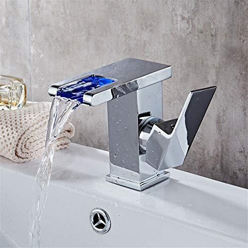 Xihouxian Bad Becken Heißes Und Kaltes Wasser Wasserhahn/LED Mit Licht/Kupfer Weithals Wasserfall Wasserhahn/Klassische Form/LED Farbe Design/Sitzdurchmesser: 3,5 cm E20 -