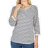 BASEFIELD 229005592 Damen Shirt im Streifen-Look mit 3/4-Arm Rundhals Stretch, Groesse M, weiß/grau/Marine/gestreift