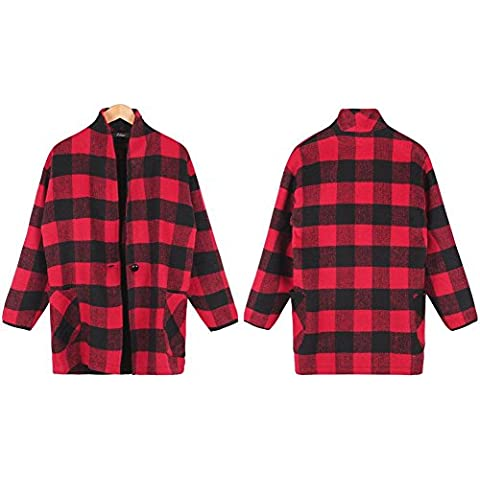 GSKBNT Inverno moda nuovo stile Tartan lana cappotto classico , red , s