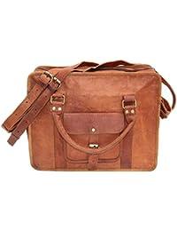 Shree Royal Leather Vintage Genuine Leather Satchel Shoulder Bag- Tan, 16 Inch, SRL3