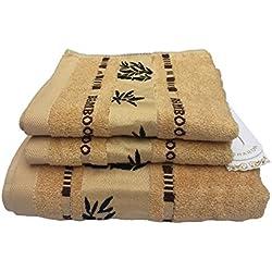 Juego de toallas Lsharon prémium de fibra de bambú, 3piezas (1toalla de baño, 2toallas de mano), color natural, ultra absorbentes y ecológicas