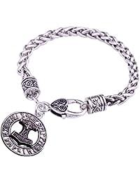 Teamer Bracelets à breloques Marteau de Thor Mjolnir Viking Marteau Amulette scandinave Pendentif Bracelets Norse Bijoux