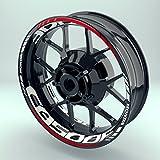 Felgenaufkleber Set Honda CB 500 F für Motorrad | 17 Zoll | Felgenrandaufkleber & Felgenbettaufkleber | Vorder- & Hinterreifen Komplett-Set (Doppelt - glänzend)