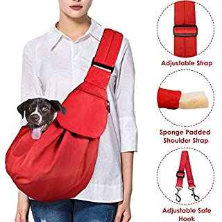 Nasjac Pet Dog Sling Carrier, Puppy Cat Hand Free Carry Doggie Papoose Trip Carrie Tote Bag with Front Pocket Safety Belt Adjustable Padded Shoulder Strap Carrying for Puppy Outdoor Walking Subway