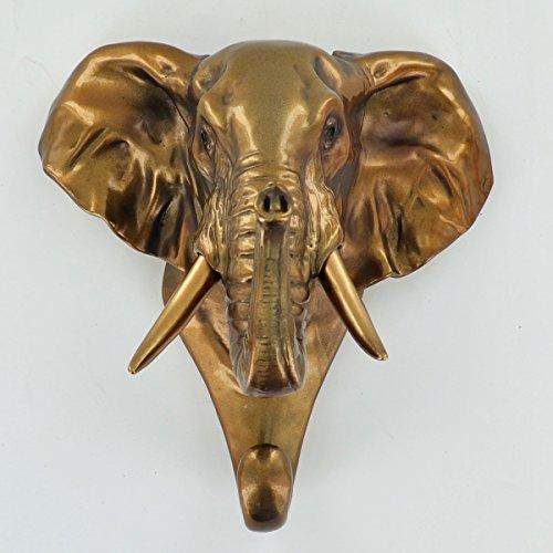 Kleiderhaken Elefant Kopf, dekoratives Wand Accessoire bemalt Antik Bronze Finish Kerzenhalter