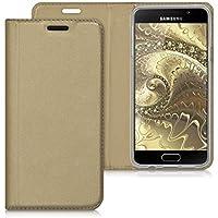 kwmobile Flip cover pour Samsung Galaxy A3 (2016) en doré avec revêtement en cuir synthétique et ouverture