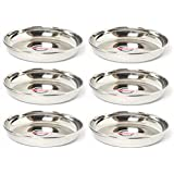 Embassy Rice Plate, Size 2, 11.6 cms (Pack of 6, Stainless Steel)