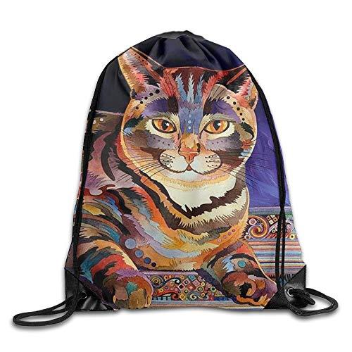 Artpower Hand Drawn Cat Youth Drawstring Backpack Women Heavy Duty Shoulder Bag Tote Hiking